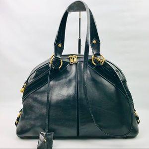 Authentic Yves Saint Laurent Fauve Blk Leather Bag